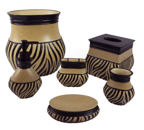 Sherry Kline 6 Piece Zuma Bath Accessory Set Tan - Add an elegant spark to your bathroom with a Sherry Kline bathroom accessory set The zebra pattern on this resin bathroom accessory collection complements most any part of all homes with this novelty lifestyle These Accessories are designed to last for years. - bathroom-accessory-sets, bathroom-accessories, bathroom - 51qa7MqOngL -