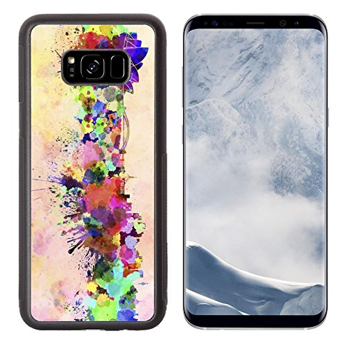 Liili Premium Samsung Galaxy S8 Plus Aluminum Backplate Bumper Snap Case ID: 24504855 Sydney skyline in watercolor - Stores Sydney In