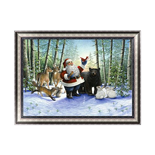 Feamos 5D Diamond Painting Embroidery Kit Christmas Santa with Animal Cross Stitch Craft for DIY Home Wall Decoration Gift