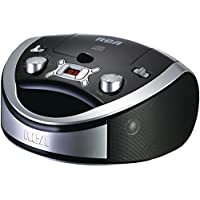 RCA Portable Cd Player & AM/FM Radio Tuner Mega Bass Reflex Boombox Sound System Plus 6ft Superior Aux Cable to Connect Any Ipod, Iphone or Mp3 Digital Audio Player