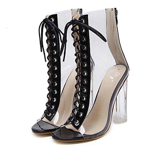 Pescado Verano Zapatos Casual Zapatos Cordones PAOLIAN Boca 2018 Cruz Fiesta Sandalias Moda de de Clásicos Vestir de Ancho de Romano Altas Transparente Zapatos de para Tacón Negro Mujer awr07va