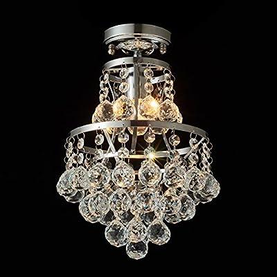 Flush Mount Crystal Chandelier Lighting with 42 Pendant Balls, 8'' W, 13''H Ceiling Light Fixture for Bedroom, Hallway, Bar, Kitchen, Bathroom Vanity Room