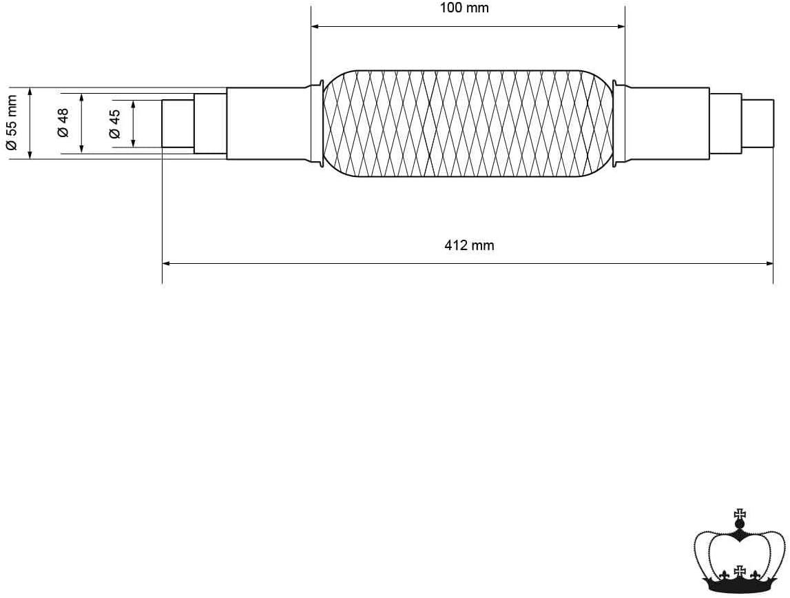 Interlock Flexst�ck Wellrohr Hosenrohr Montage ohne Schwei�en 55 x 280 mm aus Edelstahl ECD Germany Universal Flexrohr mit 2 Schellen Flexibles Rohr