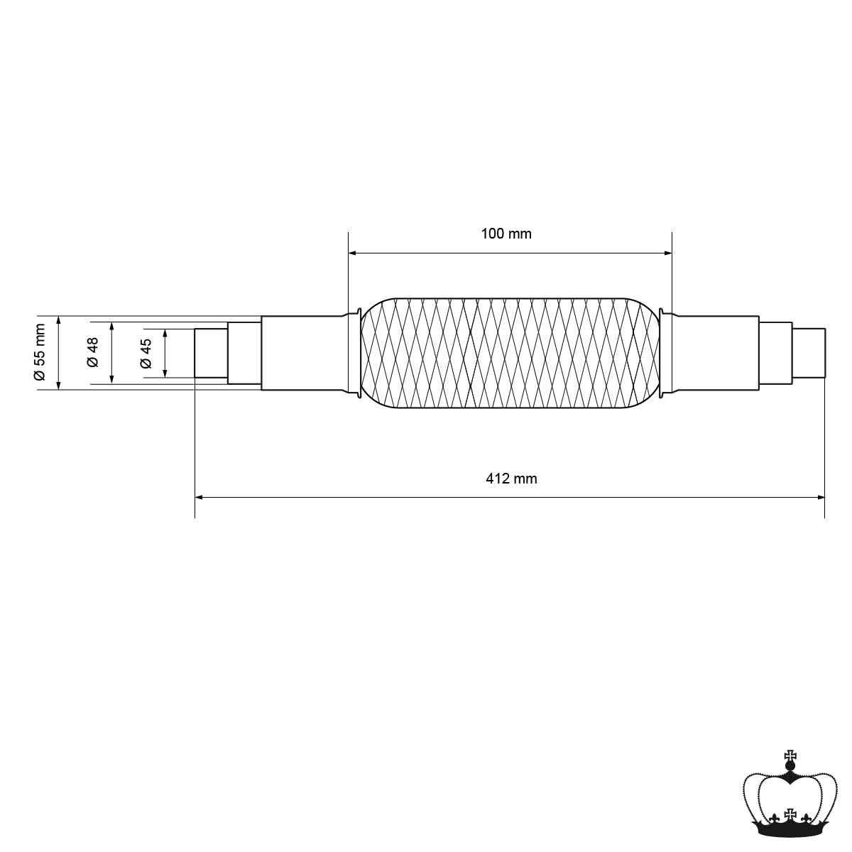 Auspuff-Montagepaste 60g Paste Flexst/ück Wellrohr Hosenrohr Flexibles Rohr ECD Germany Universal Flexrohr Edelstahl Interlock 45 x 230 mm mit 2 Schellen Montage ohne Schwei/ßen