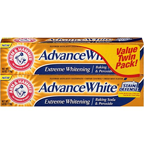 - Arm & Hammer PQDHF Advance White Extreme Whitening with Stain Defense, Fresh Mint, 6 oz 4 Twin Packs - 8 Total (Packaging May Vary)