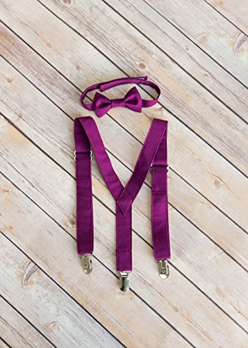 Raspberry Suspender and Bow Tie (Raspberry Bow)