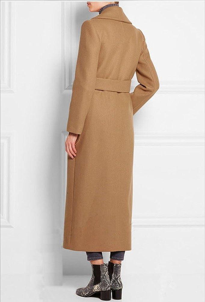 YuanDian Donna Lungo Doppio Petto Risvolto Eleganti Colori Solidi Giacca Cappotti