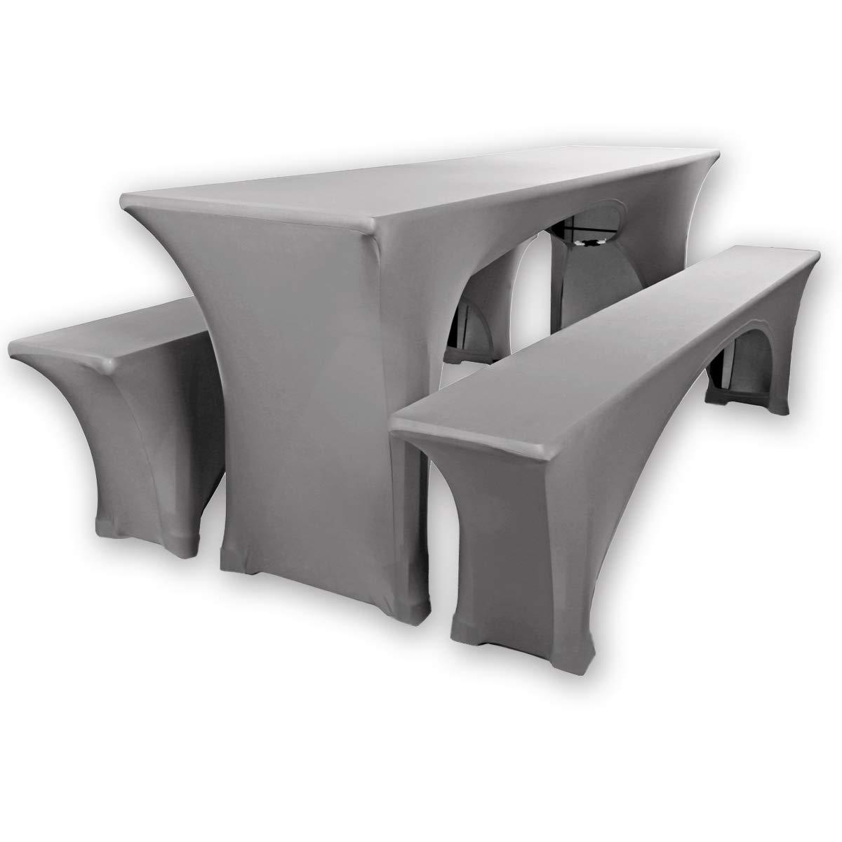 Gräfenstayn® Leopold - Copertura per tavolo elasticizzata, set da 3pezzi, larghezza tavolo: 70cm o 50cm, a norma Standard 100 by Öko-Tex, Anthrazit, 50 x 220 cm set da 3pezzi larghezza tavolo: 70cm o 50cm Gräfenstayn