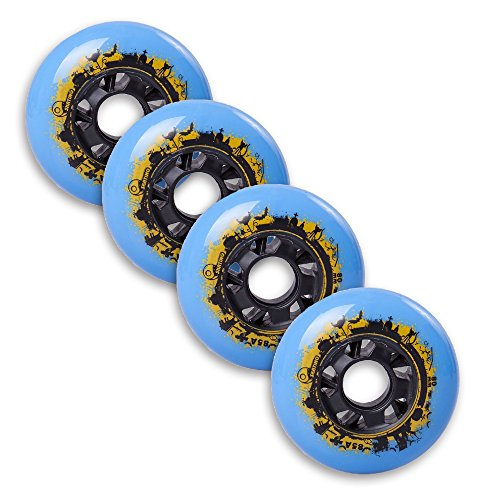 Durable Pu Inline Roller Skates Replacement Wheels 76mm Blue (Aggressive Roller Skates)