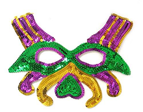 SACASUSA Green Yellow Purple Feather Mask Mardi gras Halloween Costume (Green Sequin) (Birds Of War Costume)