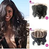 Enoya Brazilian Loose Wave Silk Top Frontal Bleached Knots 13X4 Virgin Human Hair Ear To Ear Full Lace Frontal Piece With Baby Hair (18'' Silk Base Frontal)