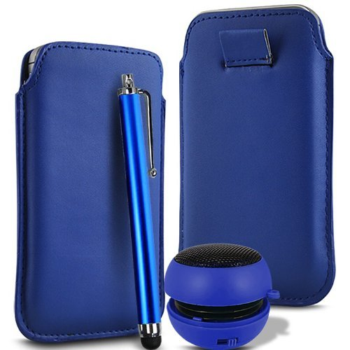 N4U Accessories Dark Blue Superior Pu Soft Leather Pull Flip Tab Case Cover Pouch, High Sensitive Stylus Pen & Rechargeable Mini Pocket Size Portable Speaker For Blackberry 9500 - Pocket Leather 9500 Blackberry