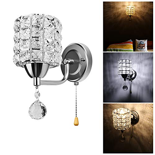 Small LED Wall Lamp Sunsbell Crystal Wall Lamp Chrome Finish Small Wall Sconce Bathroom Living Room Lighting Fixture Decor (Bulb NOT Included)