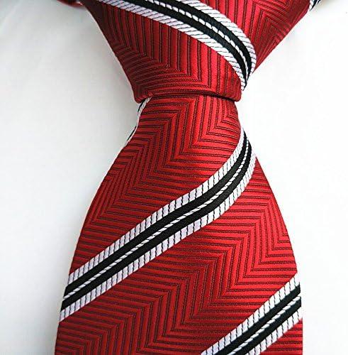FYios Corbata de Rayas roja, Negro, Plata y Blanco, Corbata para ...