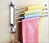 No need drilling,Bath Towel Bar Rack Hanger Holder Swing Hand SUS 304 Stainless Steel Bathroom Swivel 4-Bar Folding Wall Mount Polished Finish, T-014