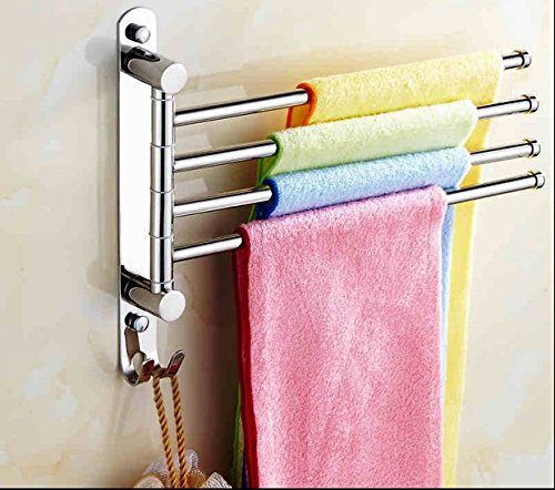 Bath Towel Holder Swing Hand Towel Rack SUS 304 Stainless Steel Bathroom Swivel Towel Bar 4-Bar Folding Hanger Holder RUSTPROOF Wall Mount Polished Finish, T-014
