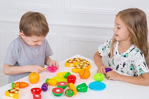Kimicare Kitchen Toys Fun Cutting Fruits Vegetables Pretend Food Playset for Children Girls Boys Educational Early Age Basic Skills Development 24pcs Set