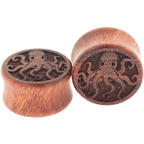 Pair of Double Flared Bloodwood Octopi Plugs: 00g, 5/16