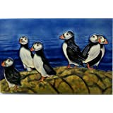 YH-Arts 8 x 12-Inch Puffin Paradise Art Tile, Ceramic, Multi-Colour by YH-Arts