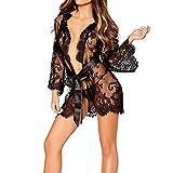 Quietcloud Women's Robe + G-string Thongs Sexy Lace Dress Sheer Floral Sleepwear Nightwear size XL (Black)