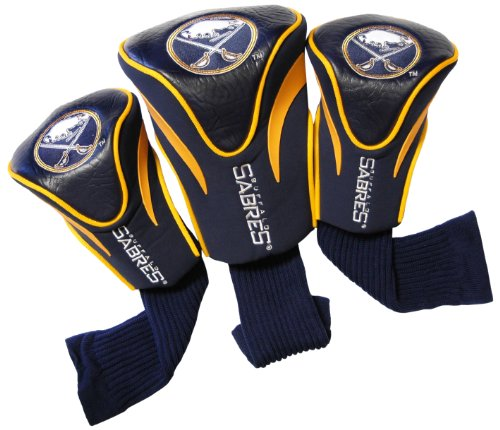 Team Golf NHL Buffalo Sabres Contour Golf Club Headcovers (3 Count), Numbered 1, 3, & X, Fits Oversized Drivers, Utility, Rescue & Fairway Clubs, Velour lined for Extra Club Protection