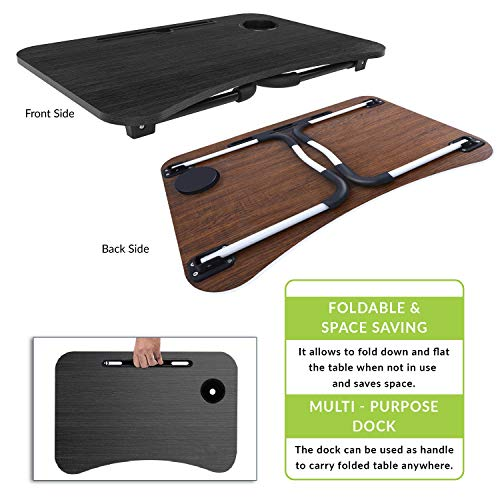 Baybee Zedo Multi-Purpose Foldable Laptop Table with Dock Stand & Cup Holder| Foldable Adjustable | Study Table | Bed Table | Table for Home | Ergonomic & Rounded Edges | Non-Slip Legs (Black)