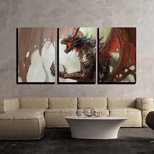 Illustration of Mythology Creature Dragon x3 Panels