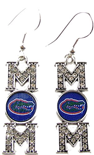 Florida Gators Mom Crystal Silver Blue Earrings Jewelry Mother Mothers Day Gift UF