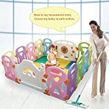 Cheap Baby Playpen Kids Activity Centre Safety Play Yard Home Indoor Outdoor With 14 Panels New Pen (14panels, Castle)