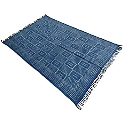 My Craft Palace Hand Block Print Indigo Area Rug,Handmade Cotton Rug