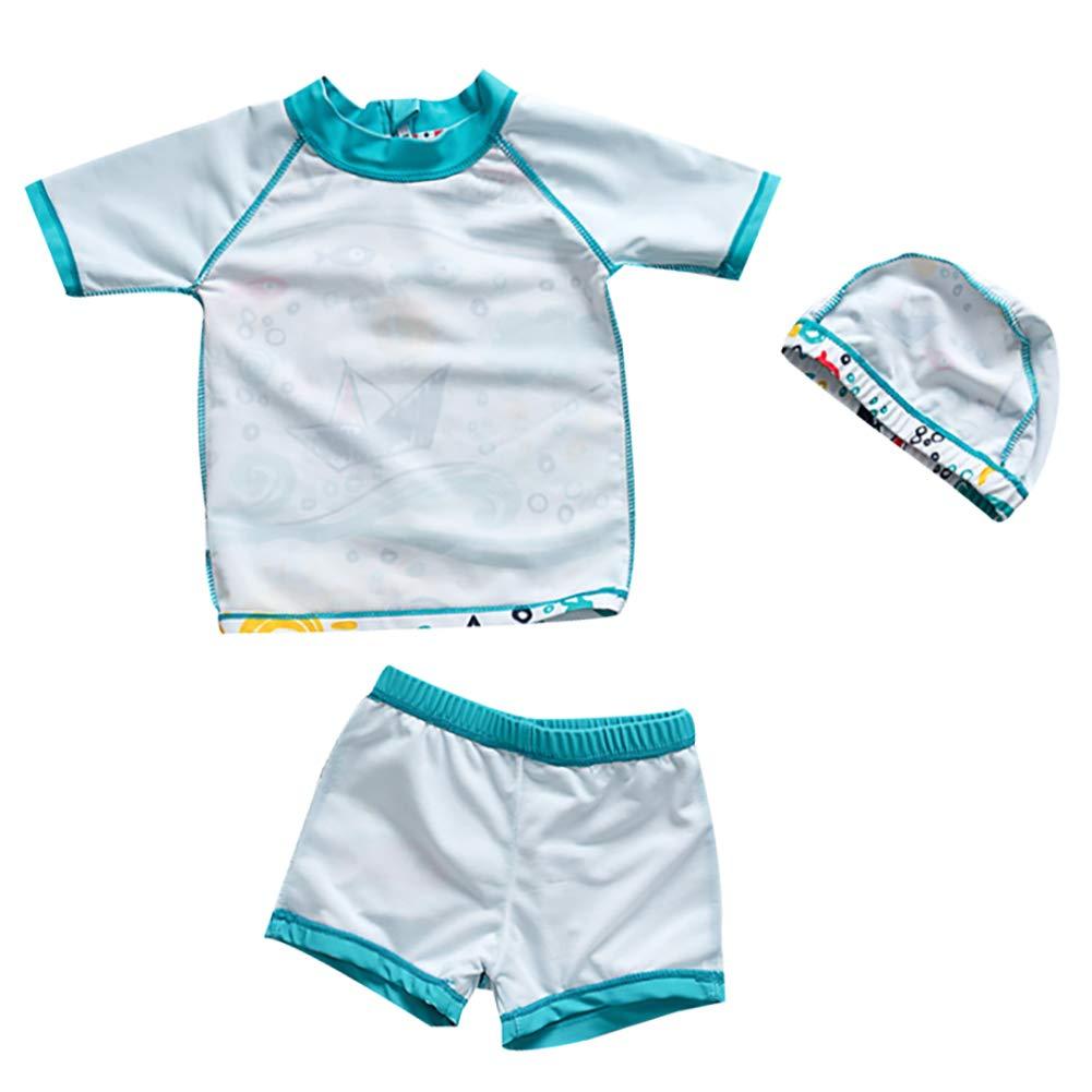 Jungen Badeanzug Bademode Set Kinder Niedlich Cartoon UPF 50 UV Sch/ützend Schwimmanzug mit Sonnenhut