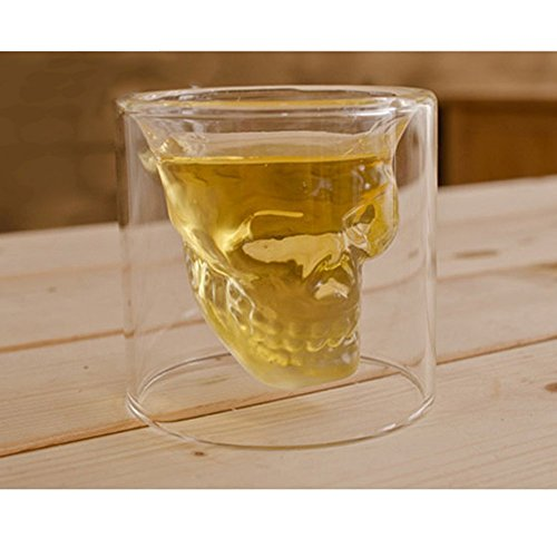 LOHOME (TM) Fashionable Creative Crystal Double Layer Glass Cup Skull Head Shaped Wine Beer Juice Glass Shot Glass Goblet