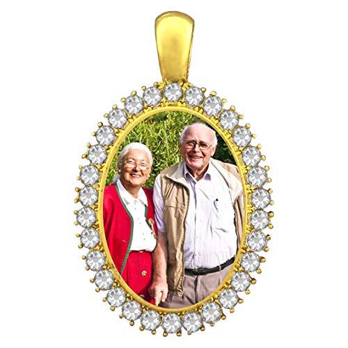 Gold Wedding Bouquet Charm Rhinestone Oval Photo Bridal Charm Memorial Photo Frame w/Photo Resizing Software