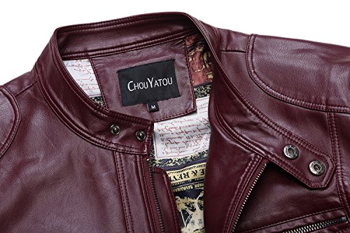 Leather 96red Chouyatou Collar Men's Vintage Pu Jacket Stand Xr7XxF