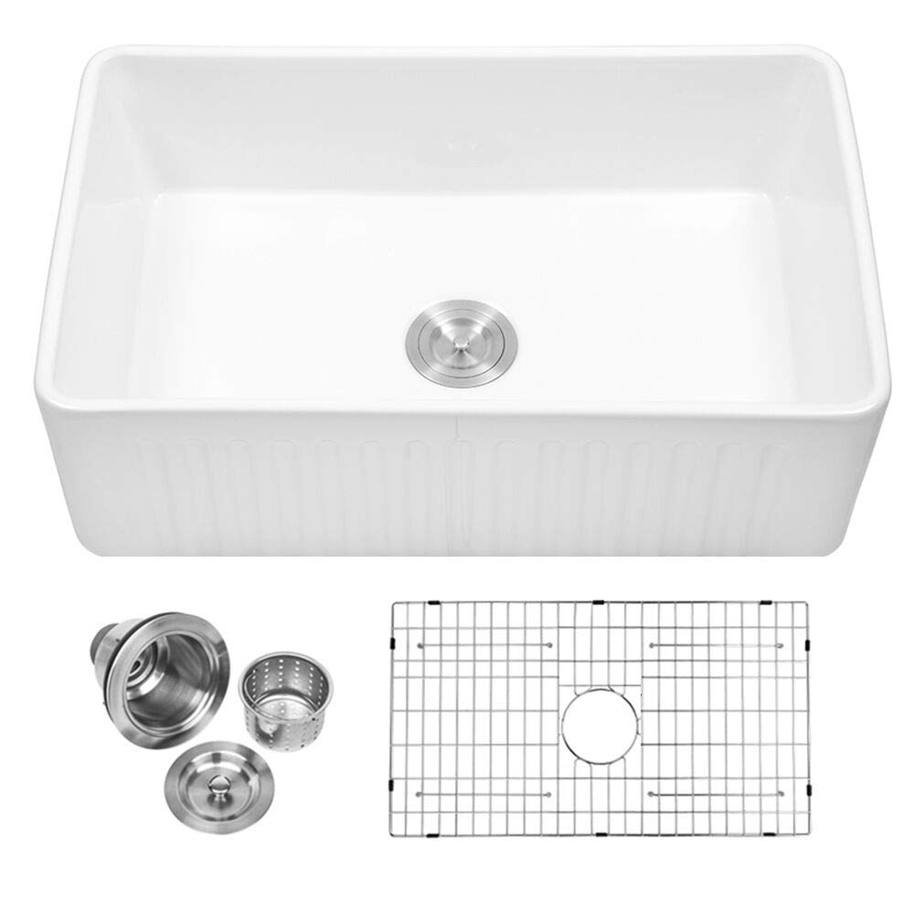Sarlai 30'' Farmhouse Kitchen Sink White Porcelain Vitreous, SUC3018R1 Fireclay Single Bowl Kitchen Sink by Sarlai (Image #1)