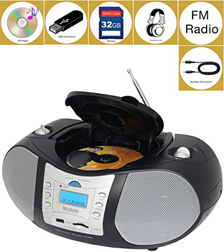 Boytone BT-6B CD Boombox Black Edition Portable Music System with CD Player & USB/SD/MMC Slot, Digital FM Radio with Auxiliary-in & Headphone Jack, AC/DC, 110/220