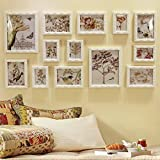TIANTA- 13 Multi Photo Frames Set European Style Retro Nostalgic Wood Carved Photo Wall Bedroom Study Room Living Room Wall Background Photo Frames Portfolio adorn ( Color : D )
