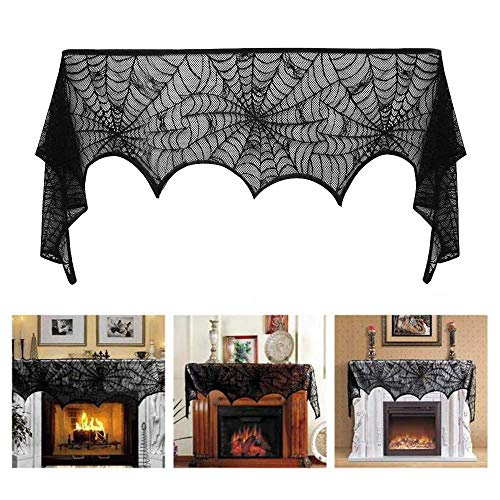 18 x 96 inch Cobweb Fireplace Scarf, Mysterious Lace Spiderweb Mantle Lace Runner, Fireplace Scarf Festive Supplies for Halloween Christmas Party Door Window Decoration Black]()