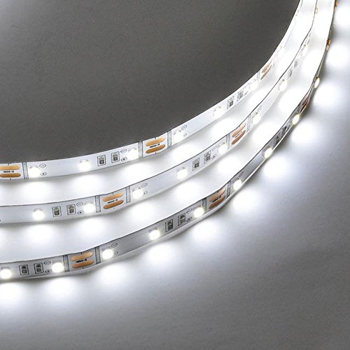 LEDwholesalers High Output UL 16.4-Feet Flexible LED Strip Kit with Dimmable Transformer and Dimmer Switch, White 5000K, 20106WH+ACM