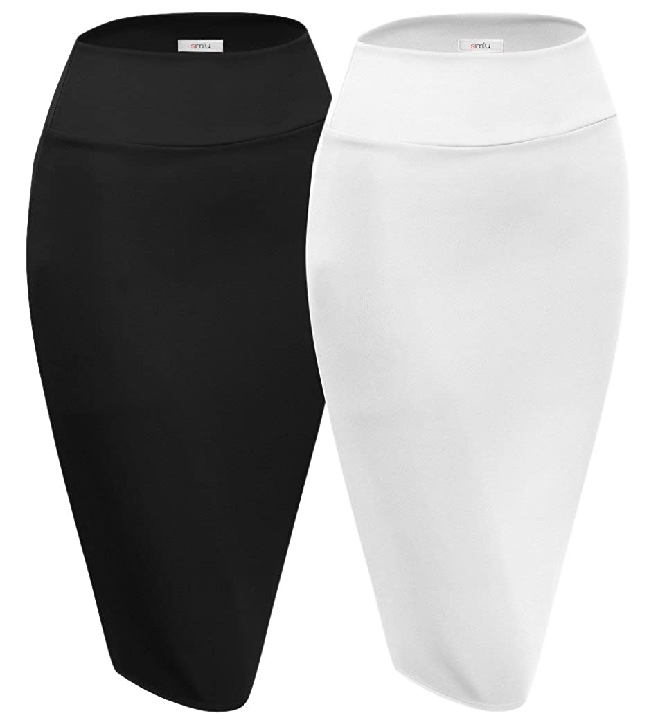 2 Pk Black   White Scuba Pencil Skirt Midi Bodycon Skirt Below Knee Skirt, Office Skirt High Waist