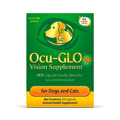 Ocu-GLO PB Vision Supplement for Small Dogs & Cats - Easy to Administer Powder Blend with Lutein, Omega-3 Fatty Acids, Grape Seed Extract and Antioxidants to Promote Eye Health, 30ct Sprinkle Capsules