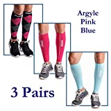 dimok Calf Compression Sleeves Leg Compression Socks - Reduces Shin Splint Muscle Pain Cramps Fatigue - Provides Fast Recovery Better Circulation (Argyle & Pink & Blue, M/L)