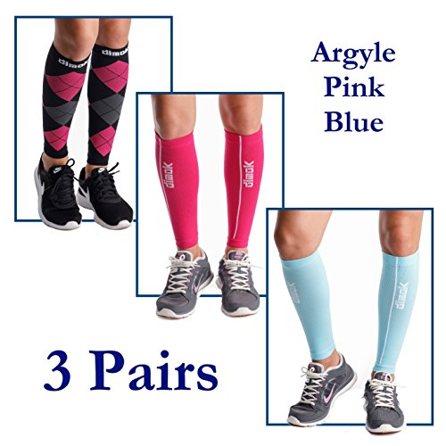 dimok Calf Compression Sleeves Leg Compression Socks - Reduces Shin Splint Muscle Pain Cramps Fatigue - Provides Fast Recovery Better Circulation (Argyle & Pink & Blue, M/L) by dimok