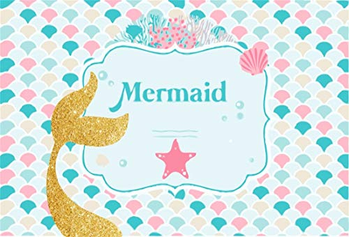 Yeele 5x4ft Vinyl Photography Background Mermaid Golden Tail Starfish Colorful Fish Scale Cartoon Marine Theme Girls Princess Happy Birthday Photo Backdrops Pictures Studio Props -