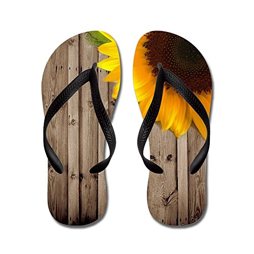 CafePress Sunflower Barnwood Country - Flip Flops, Funny Thong Sandals, Beach Sandals Black