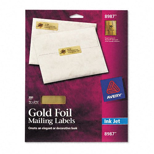 Avery : Foil Mailing Labels for Inkjet Printer, 3/4 x 2-1/4, Gold, 300/Pack -:- Sold as 2 Packs of - 300 - / - Total of 600 Each