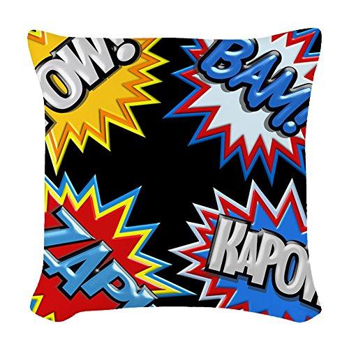 CafePress - Comic Book Bursts Pow! 3D - Woven Throw Pillow, Decorative Accent Pillow