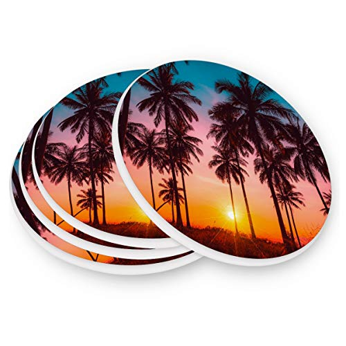 - visesunny Retro Summer Beach Coconut Palm Tree Pattern Drink Coaster Absorbs Moisture and Prevents Table Damage Stone Coasters with Cork Base Set of 2