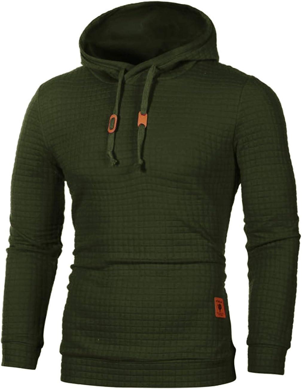 Sexyshine Mens Casual Long Sleeve Plaid Jacquard Pullover Hooded Sweatshirt