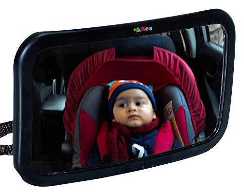 The Largest & Clearest Baby Car Mirror - Rear Facing - Up to 40% Larger than other mirrors - for any Headrest - Shatterproof Safety Glass - Fully Adjustable - Wide Angled and Convex Glass from The Baby ARea